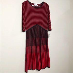 NWT!! J Taylor red striped fit flare dress 1290